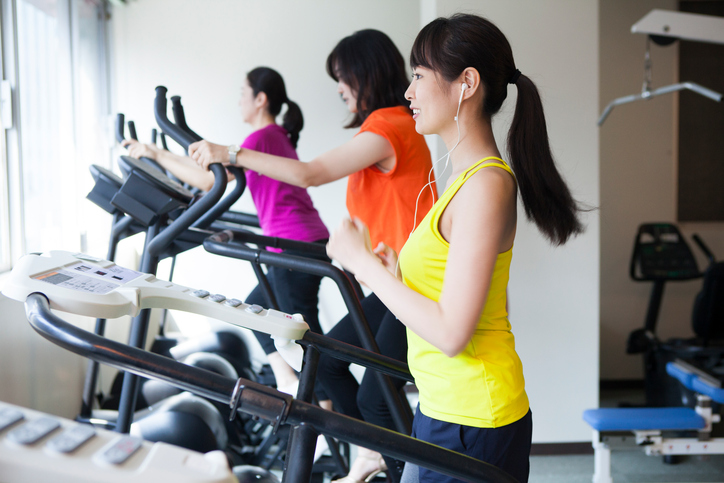 Women who exercise at the training gym.